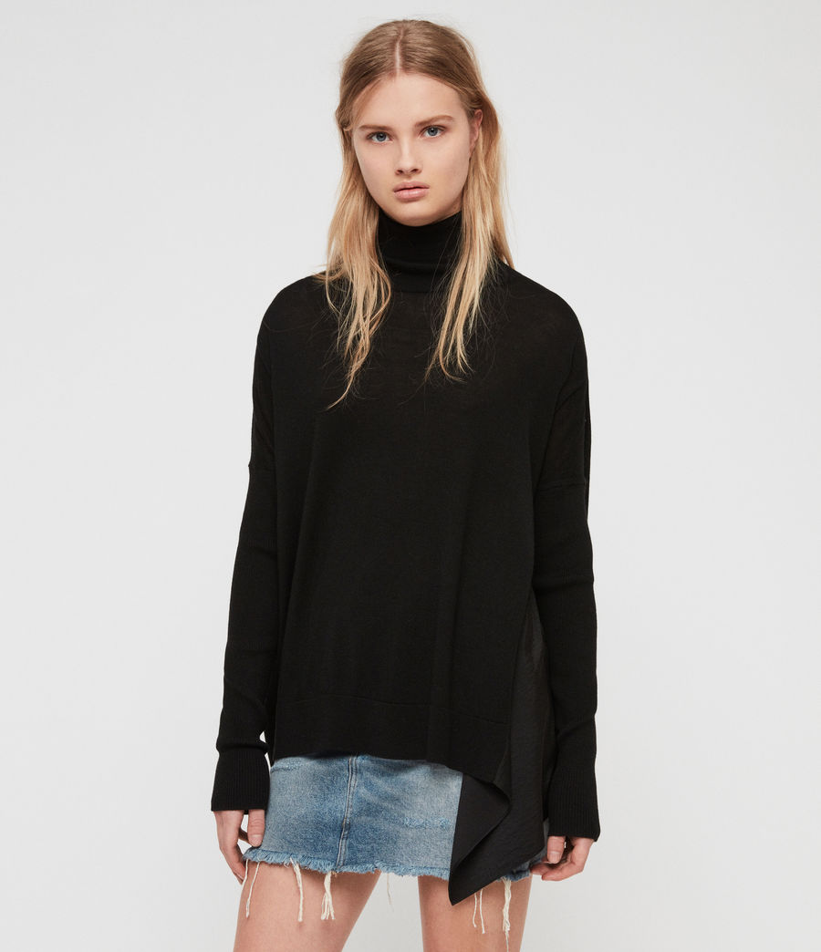 Womens Alda Roll Neck Sweater (black) - Image 2