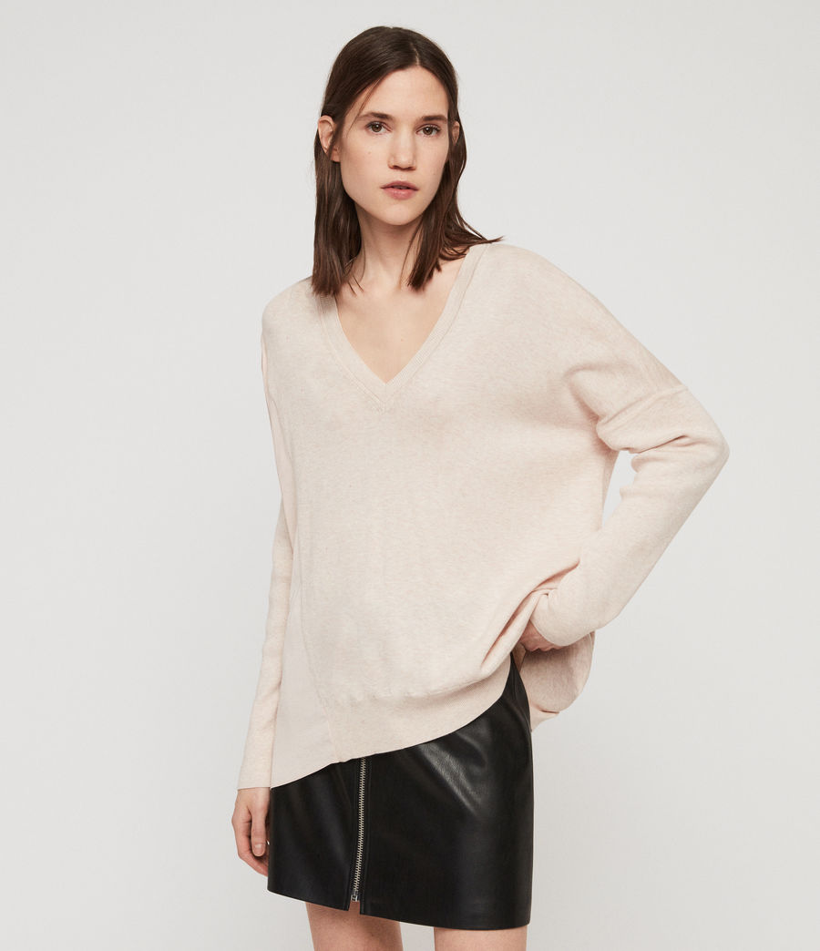 Womens Alda Panel V-neck Sweater (petal_pink) - Image 1