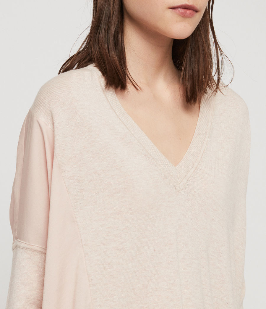 Womens Alda Panel V-neck Sweater (petal_pink) - Image 4