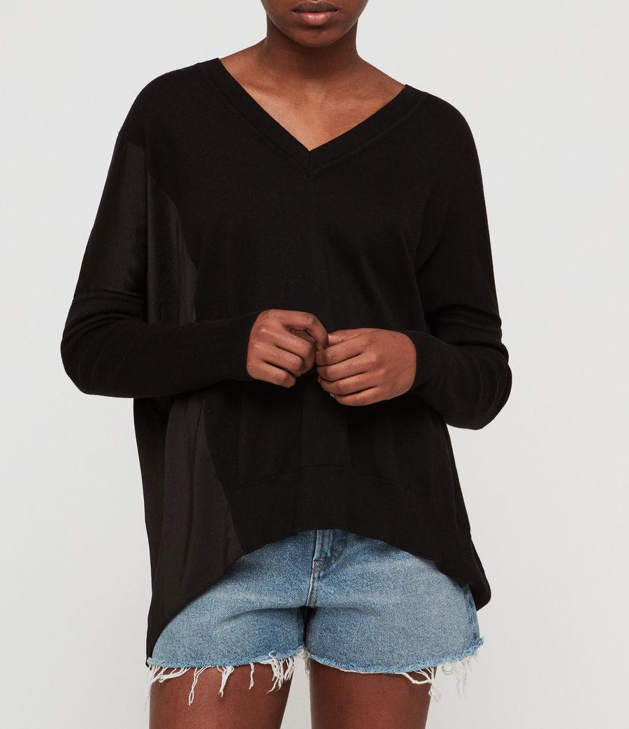 Women's Alda Panel V-neck Jumper (black) - Image 3