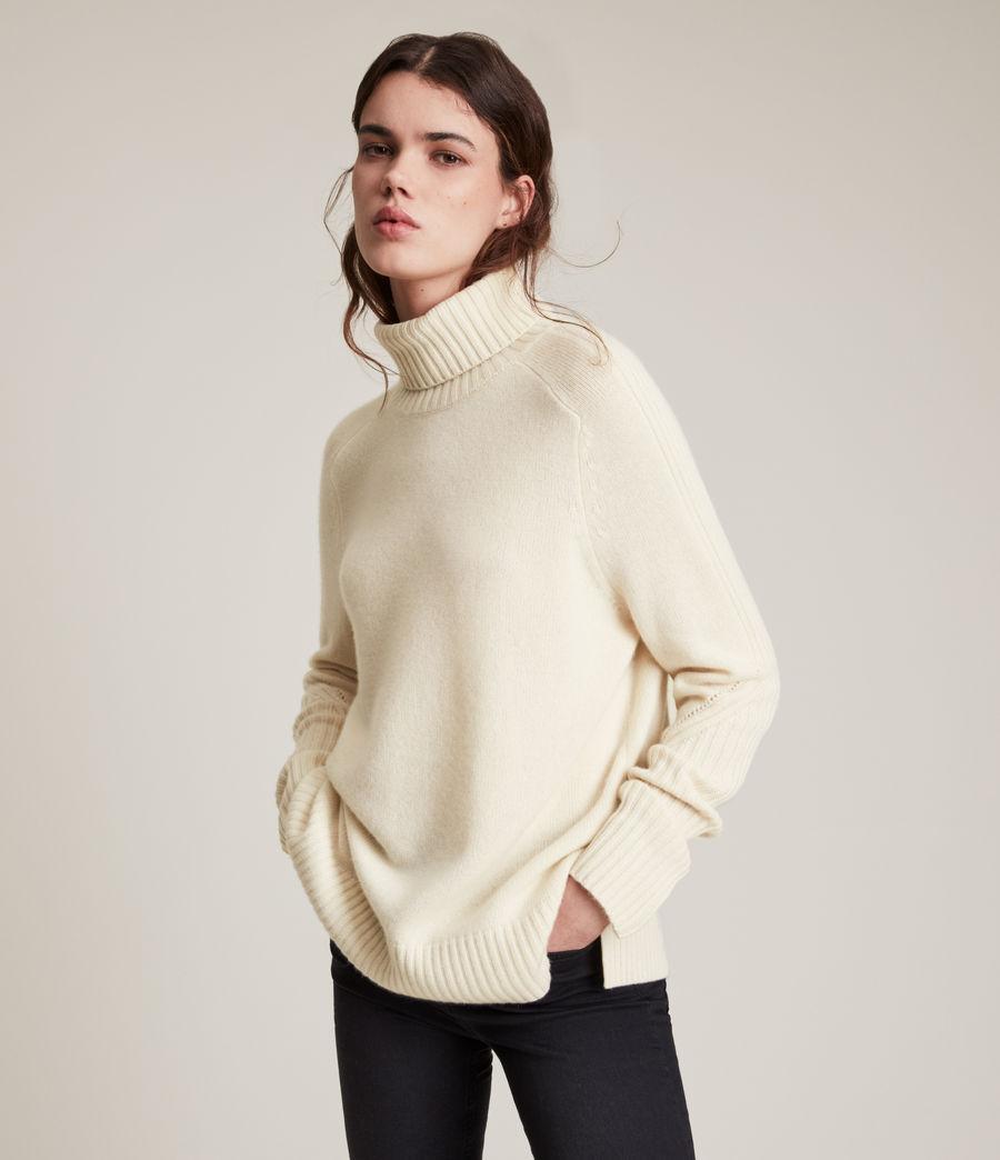 Womens Kiera Cashmere Roll Neck Sweater (ivory_white) - Image 1