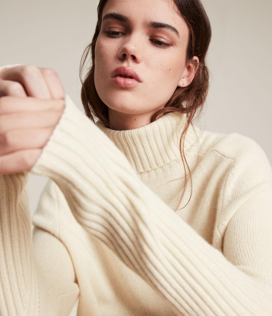 Womens Kiera Cashmere Roll Neck Sweater (ivory_white) - Image 2