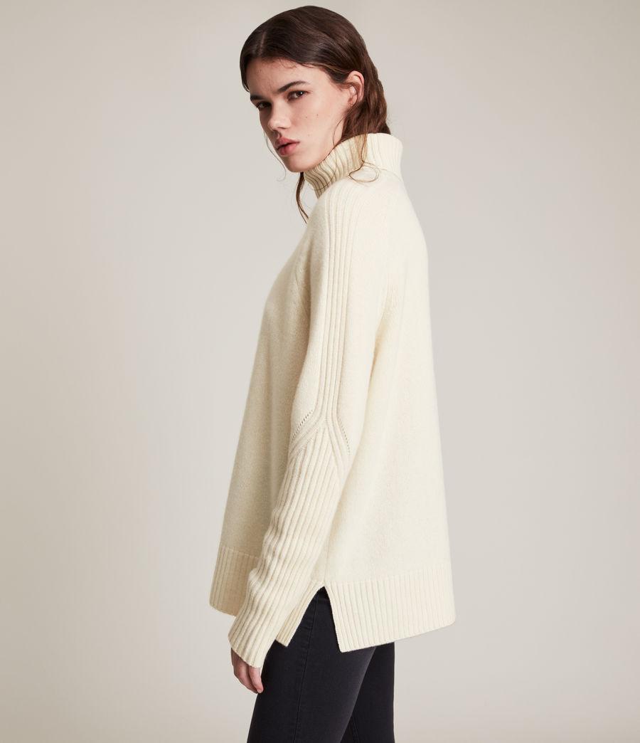 Womens Kiera Cashmere Roll Neck Sweater (ivory_white) - Image 3