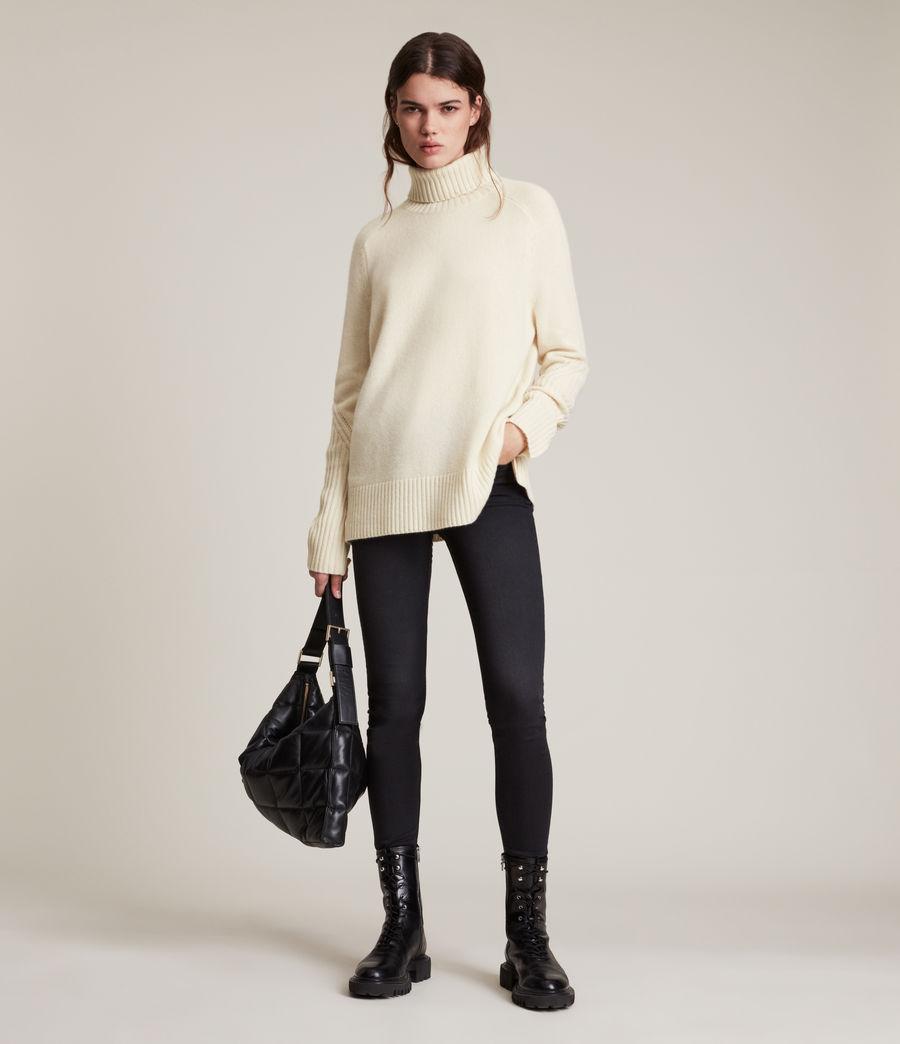 Womens Kiera Cashmere Roll Neck Sweater (ivory_white) - Image 4
