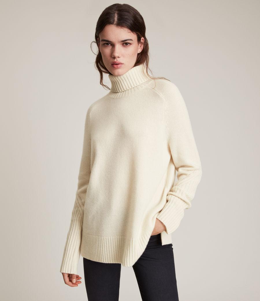 Womens Kiera Cashmere Roll Neck Sweater (ivory_white) - Image 5