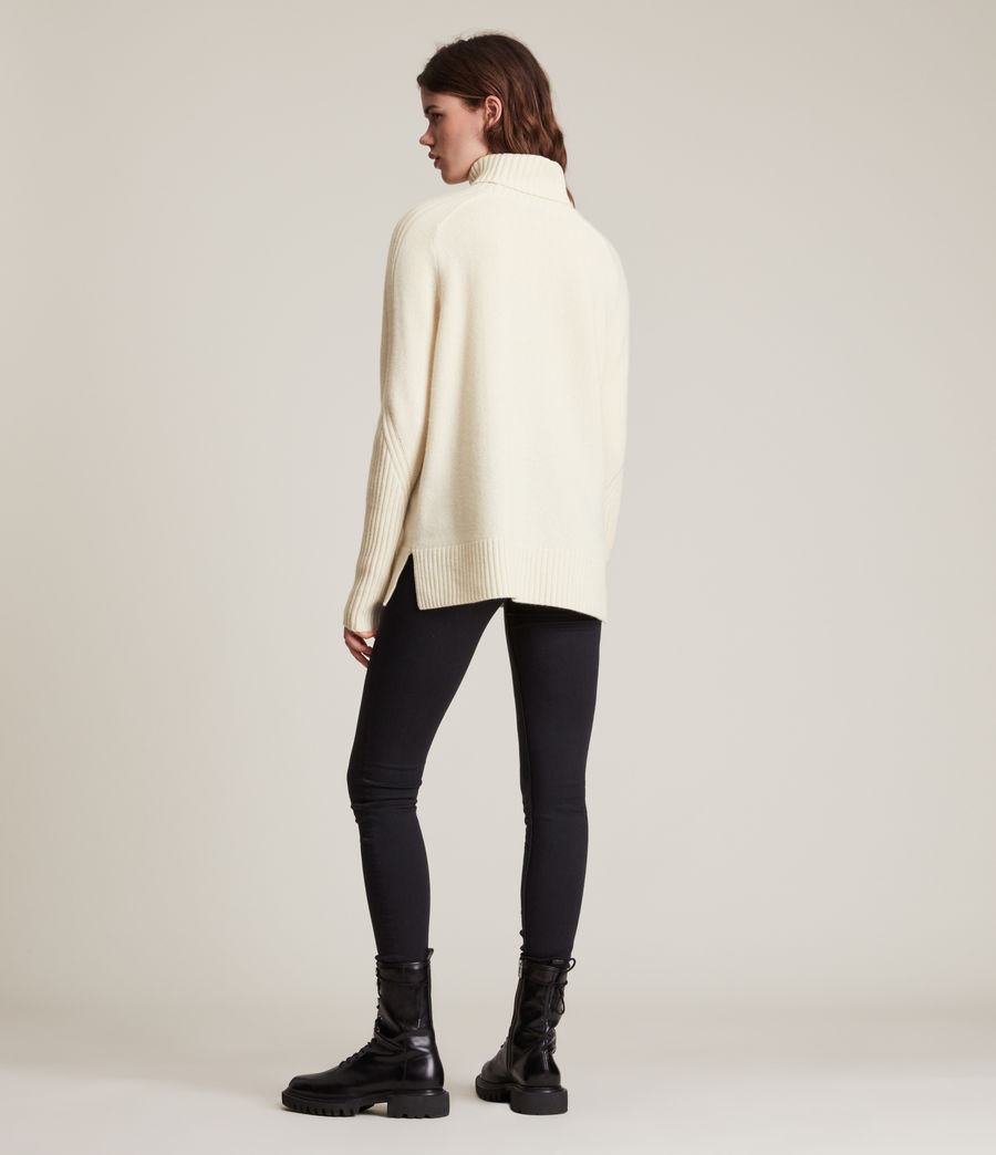 Womens Kiera Cashmere Roll Neck Sweater (ivory_white) - Image 6