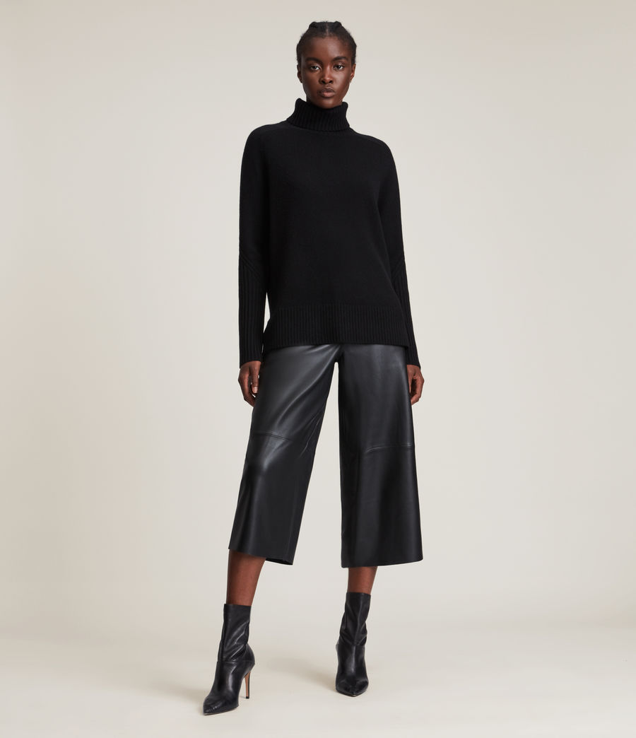 Womens Kiera Cashmere Roll Neck Sweater (black) - Image 1