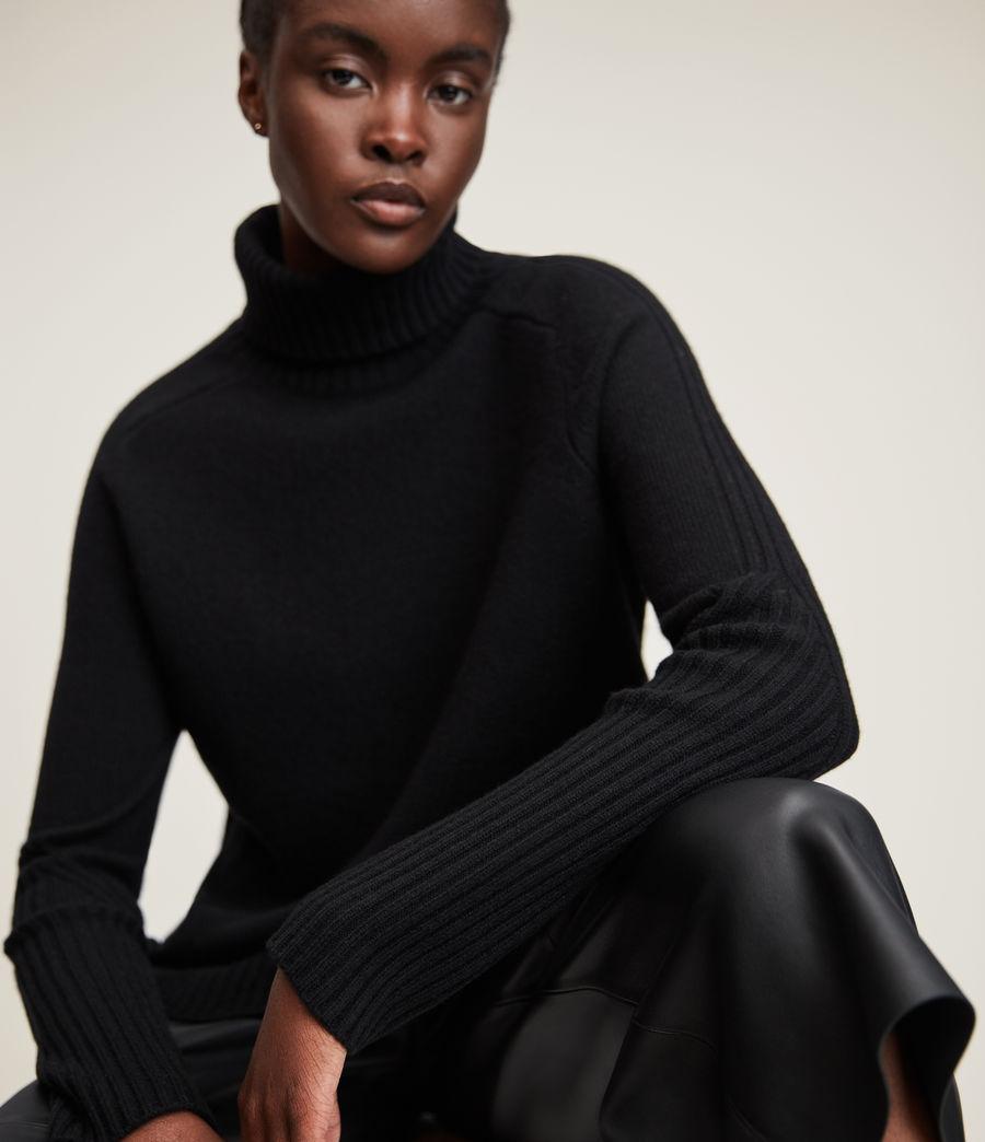 Womens Kiera Cashmere Roll Neck Sweater (black) - Image 2