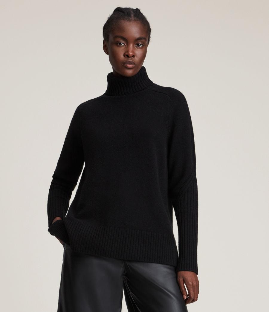 Womens Kiera Cashmere Roll Neck Sweater (black) - Image 3