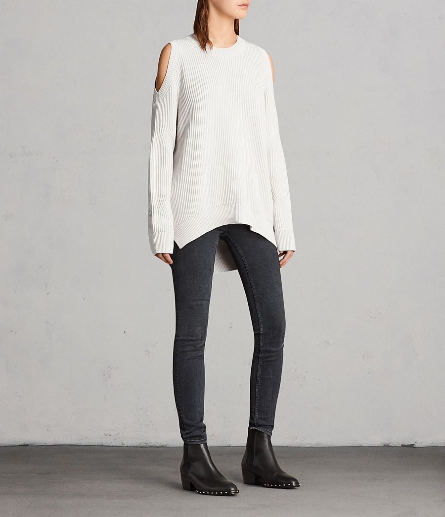 Womens Lizzie Crew Sweater (grain_white) - Image 3