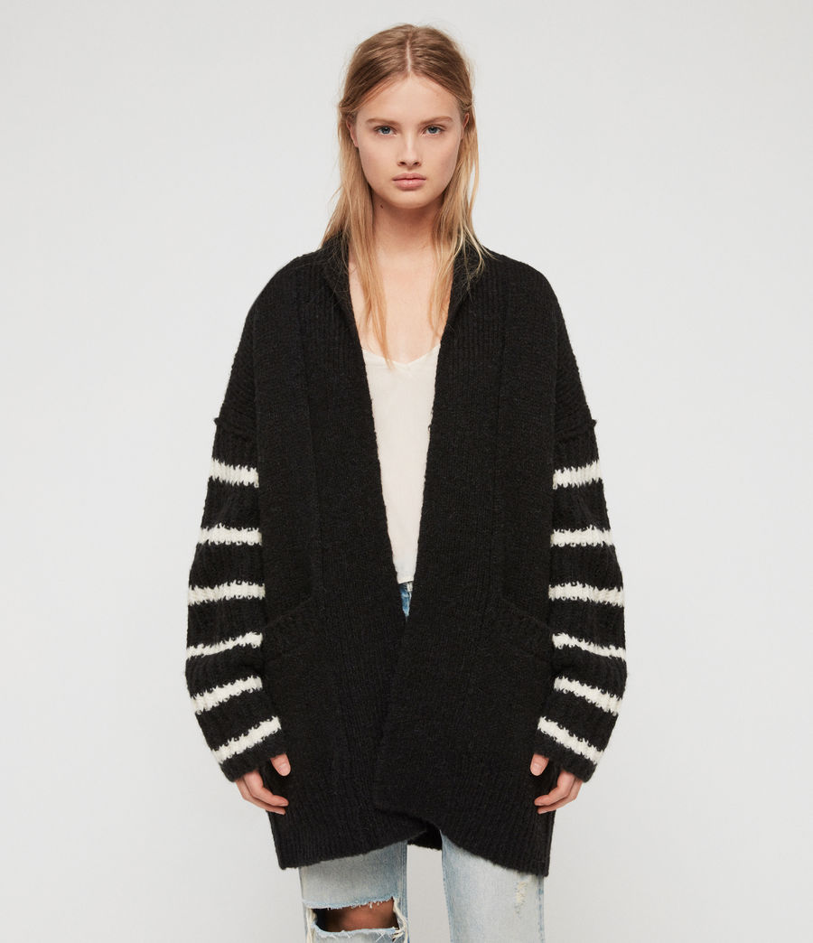 Women's Eldon Cardigan (black_chalk_white) - Image 3