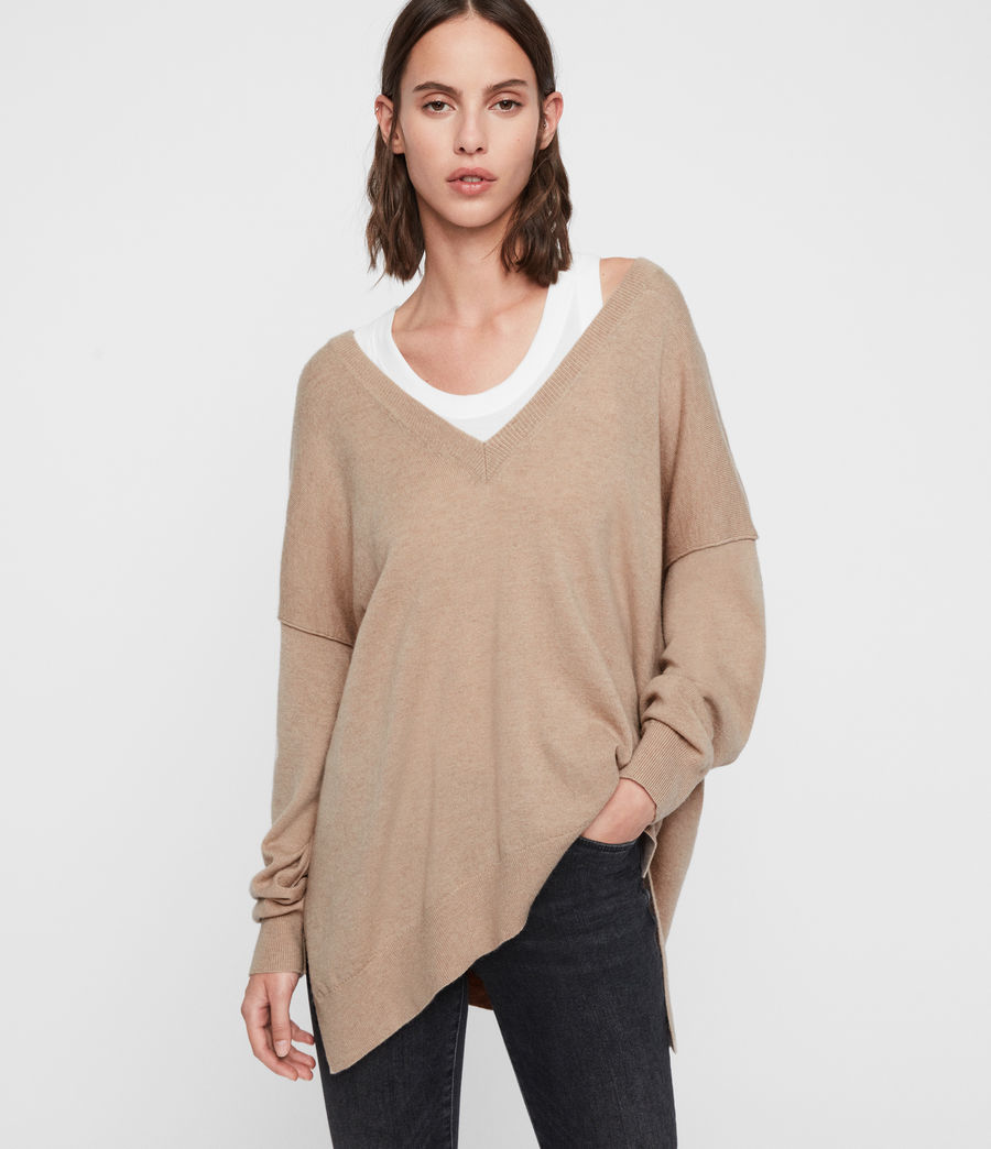 Womens Amber Cashmere Blend Sweater (putty_pink) - Image 1
