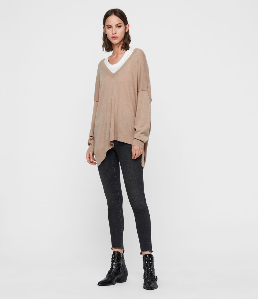 Womens Amber Cashmere Blend Sweater (black) - Image 3
