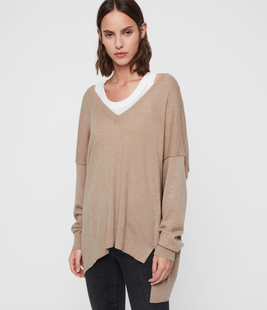 Womens Amber Cashmere Blend Sweater (putty_pink) - Image 4