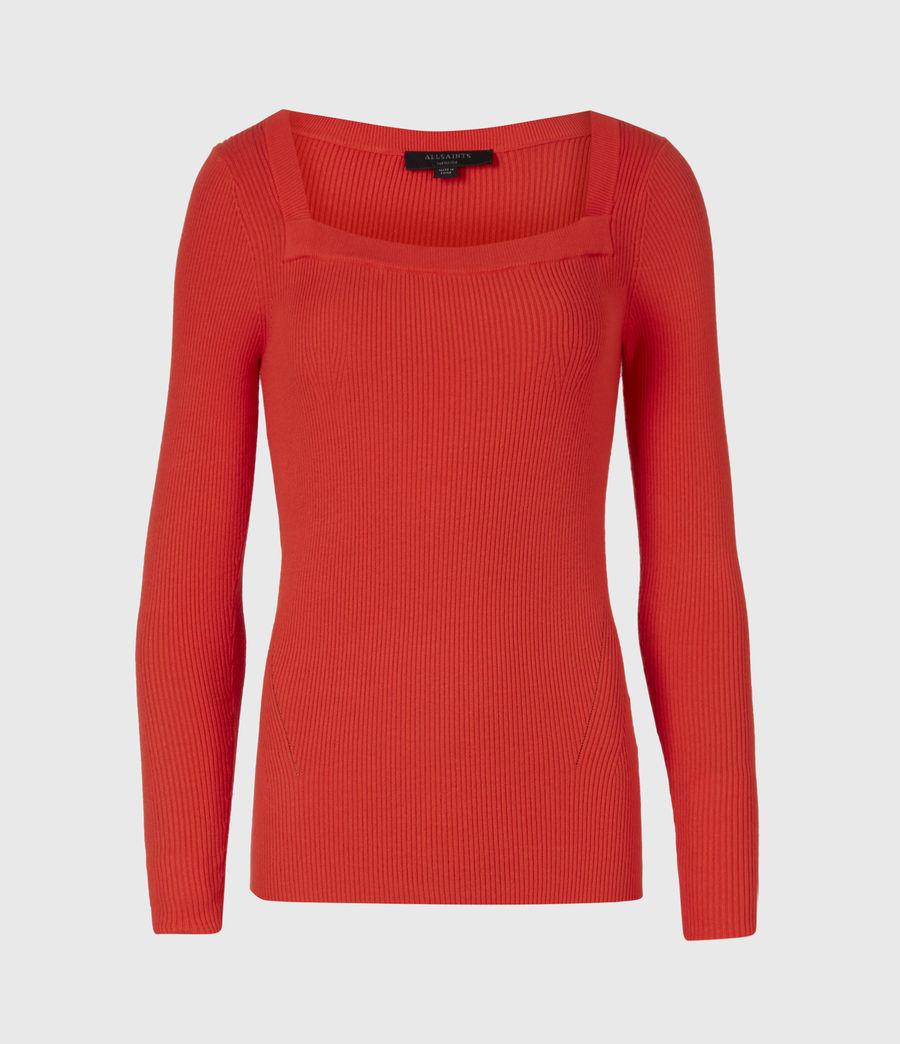 Womens Bardi Rib Top (flame_red) - Image 2