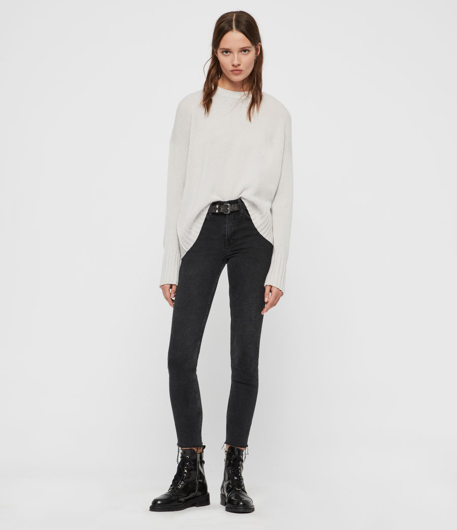 Womens Arun Crew Neck Cashmere Sweater (black) - Image 2