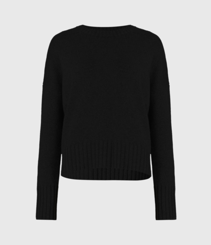 Womens Arun Crew Neck Cashmere Sweater (ice_white) - Image 2