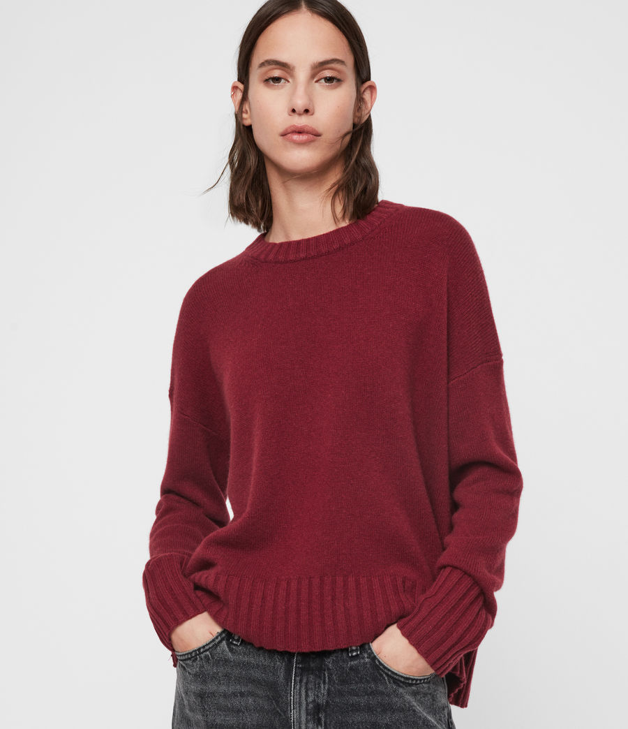 Womens Arun Crew Neck Cashmere Sweater (ice_white) - Image 1