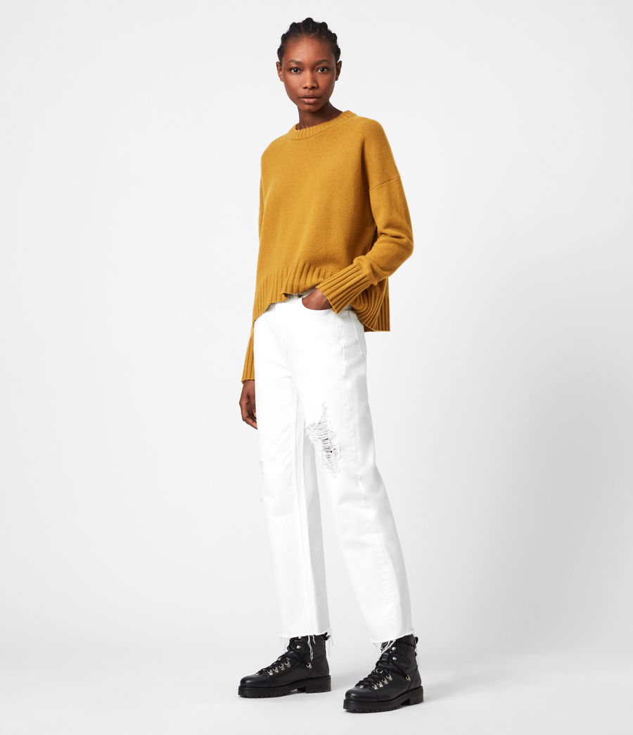 Womens Arun Cashmere Blend Sweater (gold) - Image 4
