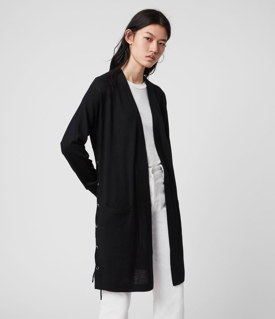 Women's Cross Merino Wool Cardigan (black) - Image 2