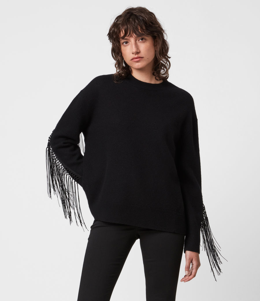 Women's Robyn Merino Wool Jumper (black) - Image 1