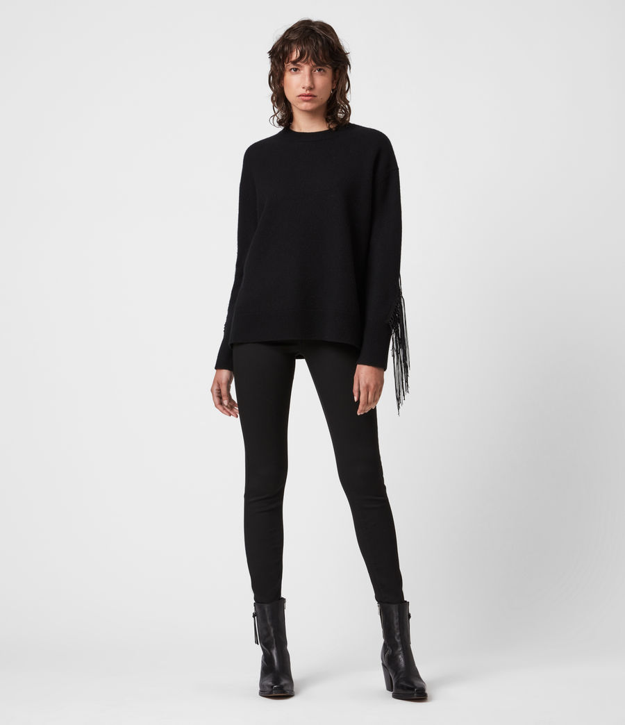 Women's Robyn Merino Wool Jumper (black) - Image 4
