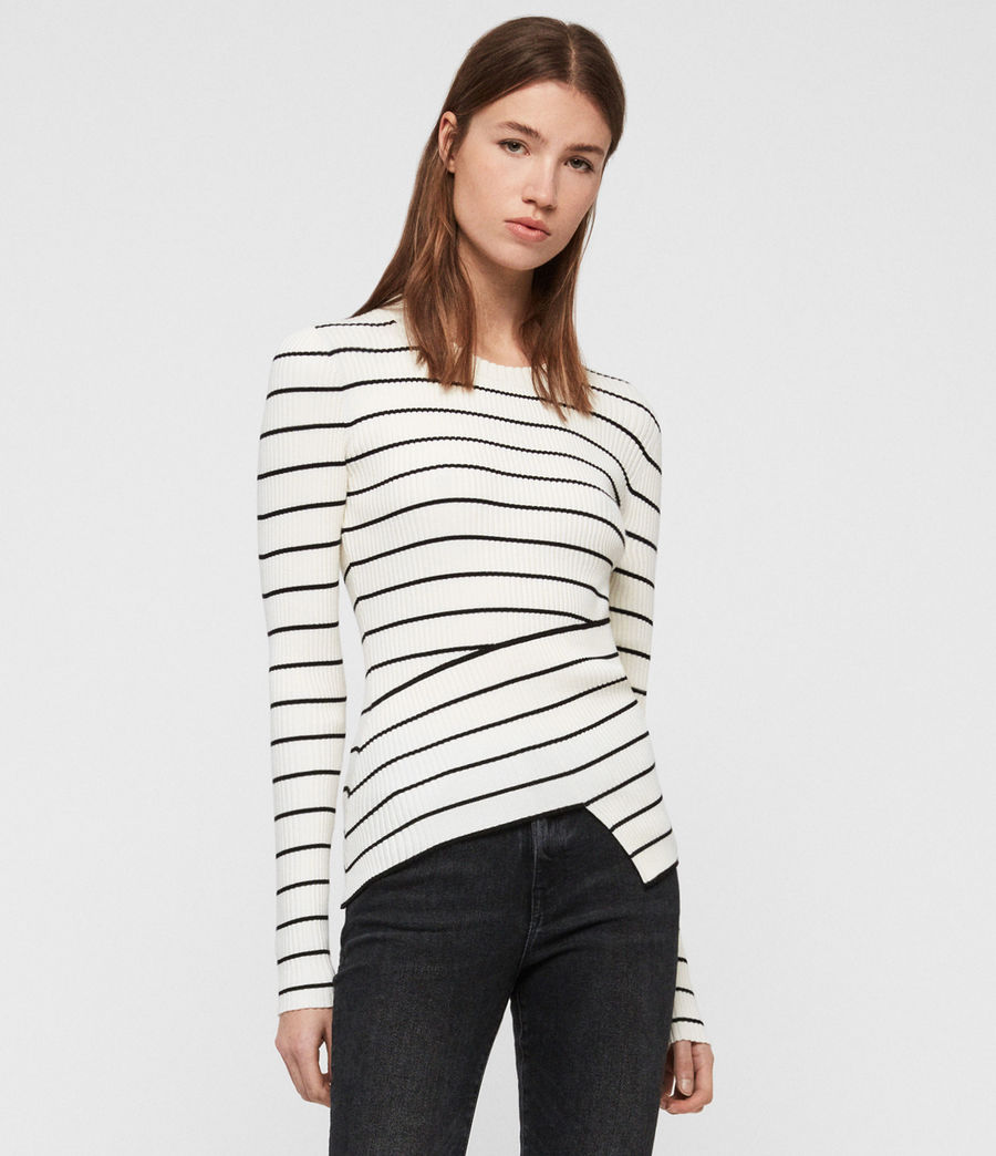 Womens Amara Striped Sweater (chalk_white_black) - Image 1