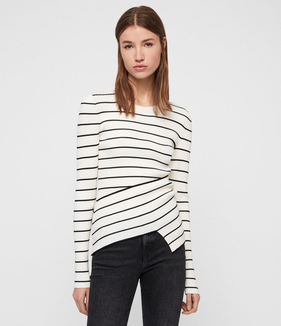Womens Amara Striped Sweater (chalk_white_black) - Image 2