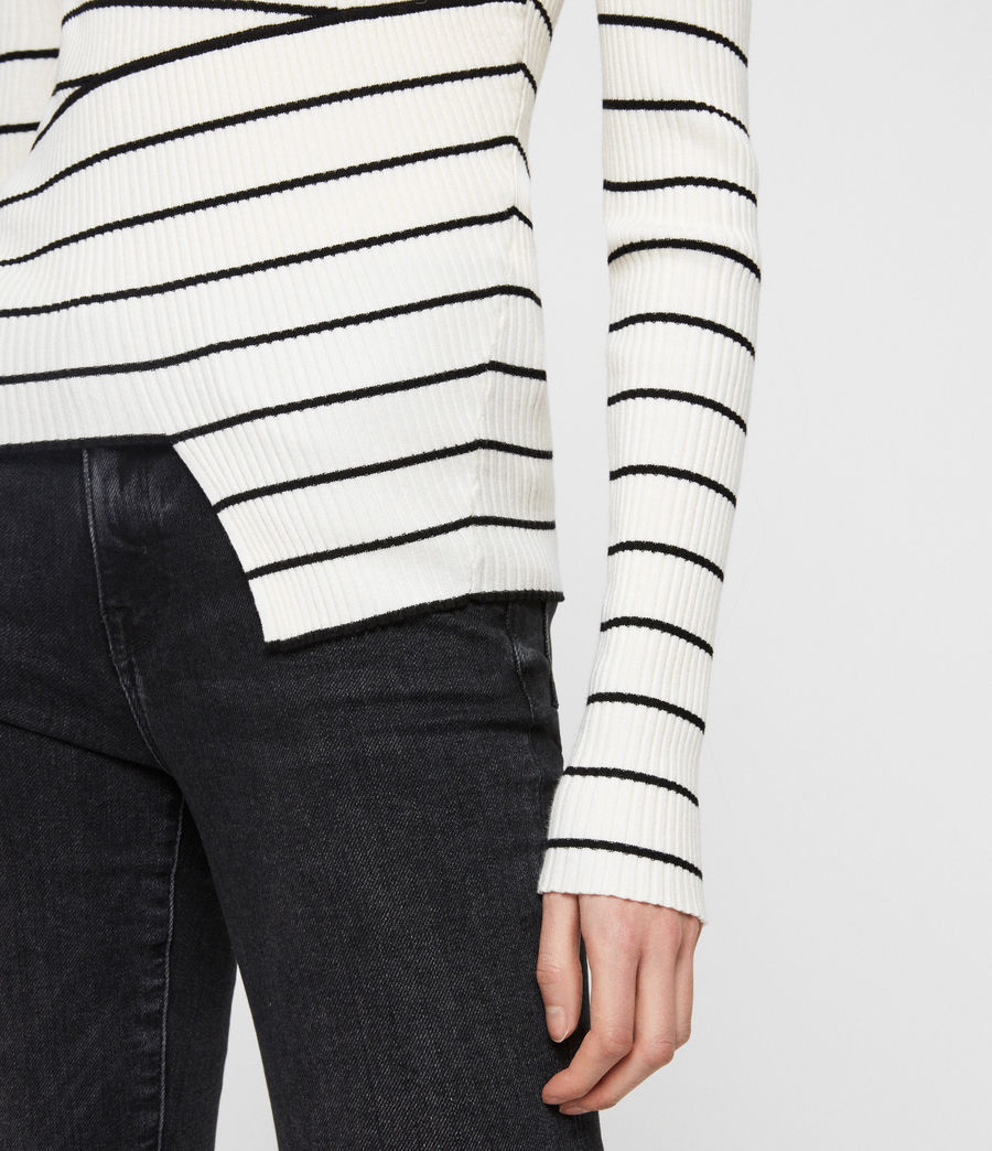 Womens Amara Striped Sweater (chalk_white_black) - Image 4