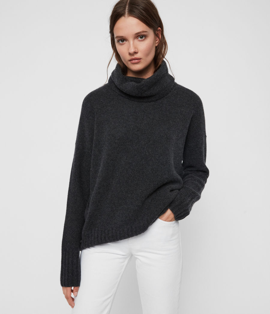 Womens Arun Roll Neck Cashmere Sweater (charcoal_grey) - Image 1
