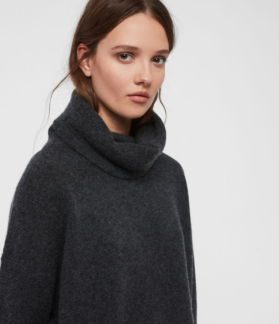 Womens Arun Roll Neck Cashmere Sweater (charcoal_grey) - Image 2
