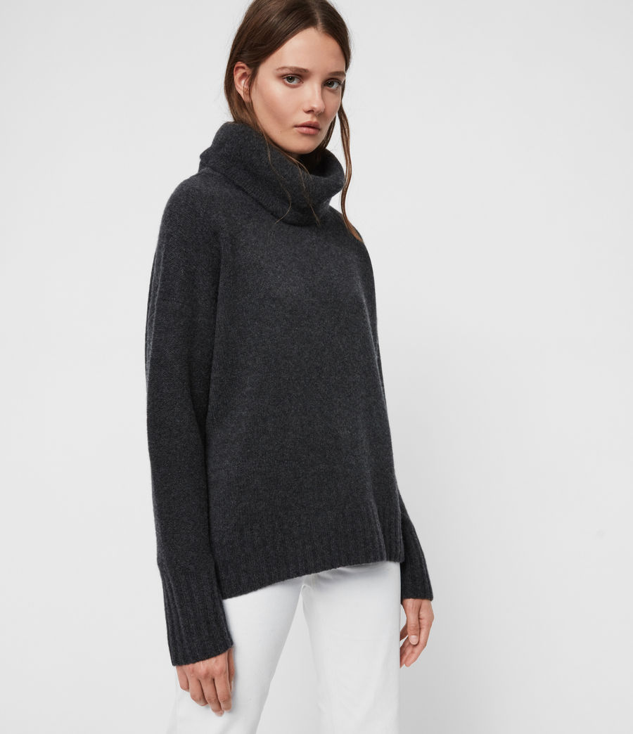 Womens Arun Roll Neck Cashmere Sweater (charcoal_grey) - Image 4