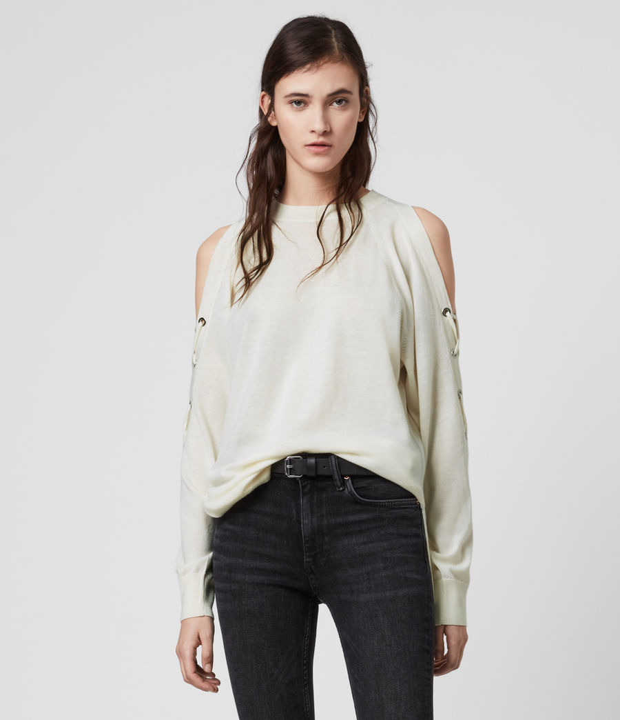 Women's Cross Merino Wool Jumper (chalk_white) - Image 1