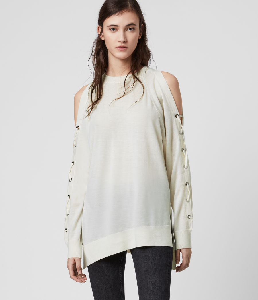 Women's Cross Merino Wool Jumper (chalk_white) - Image 4