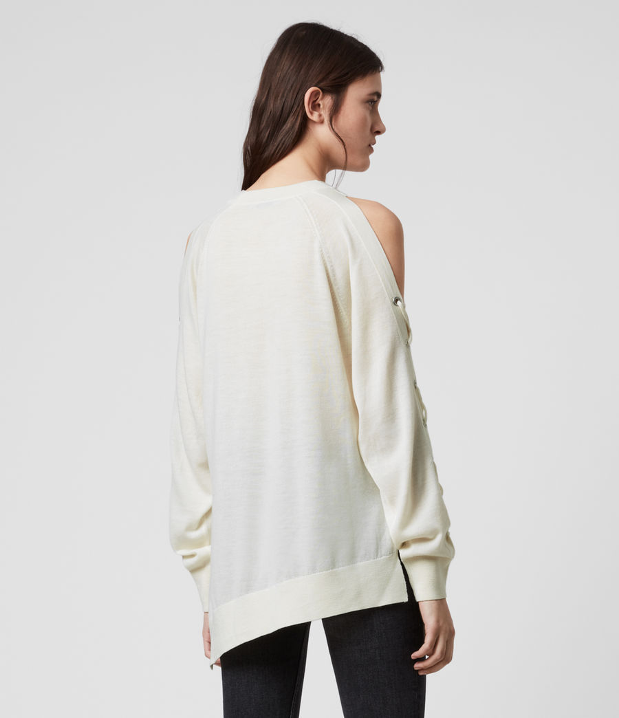 Women's Cross Merino Wool Jumper (chalk_white) - Image 5