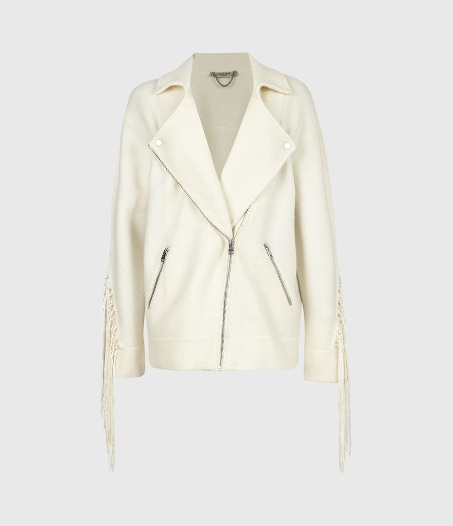 Women's Robyn Merino Wool Biker Jacket (chalk_white) - Image 2