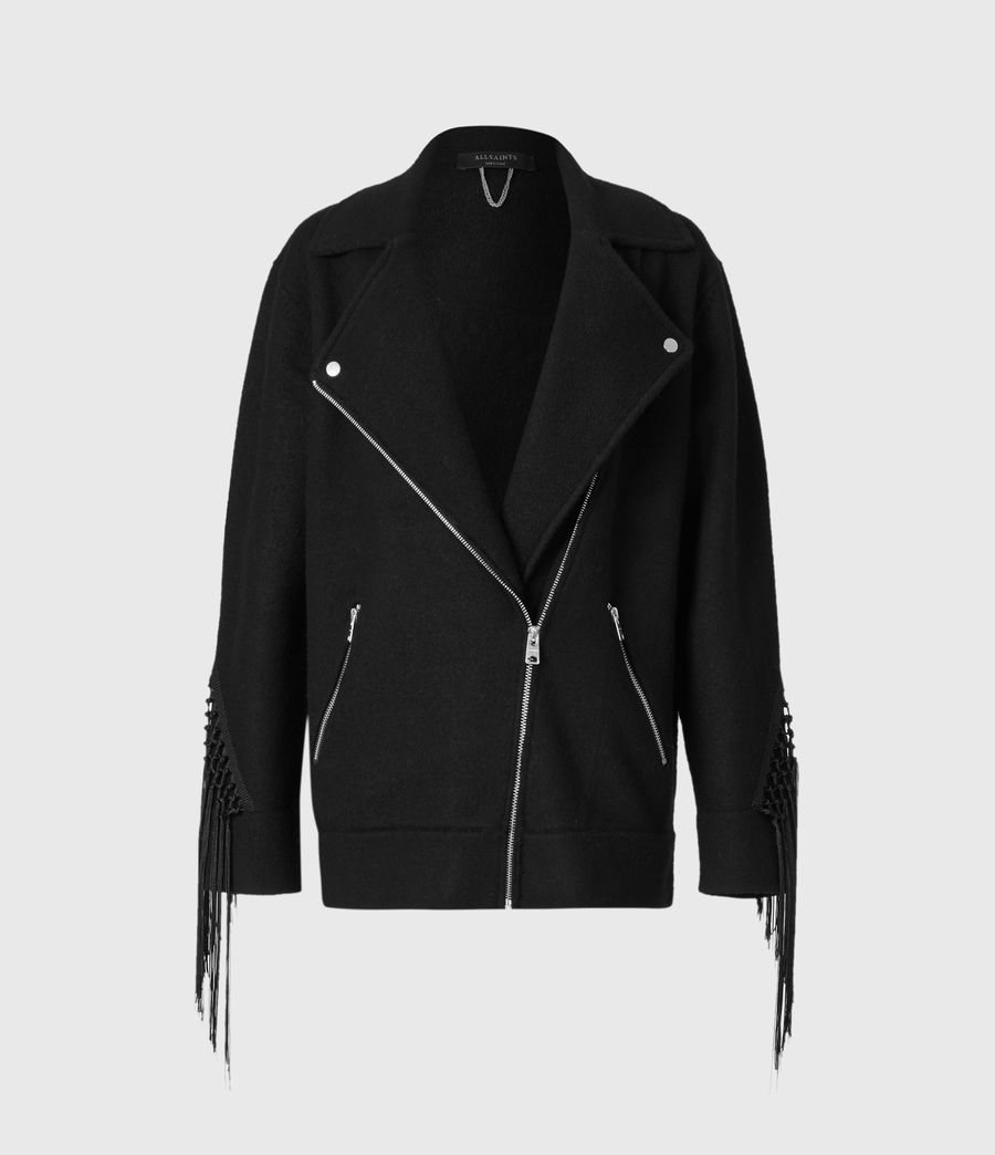 Womens Robyn Merino Wool Biker Jacket (black) - Image 2