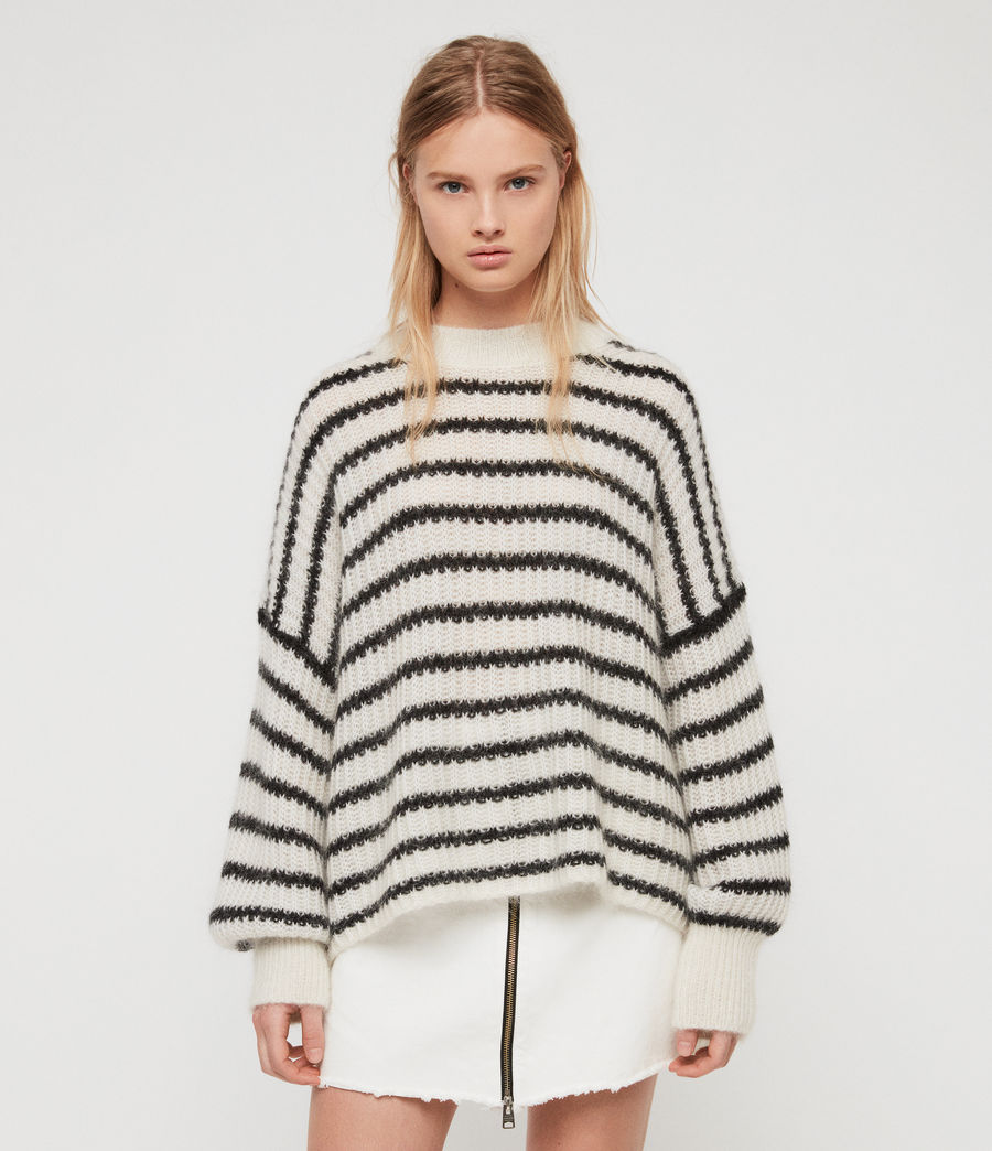 Womens Renne Stripe Sweater (chalk_white_black) - Image 2