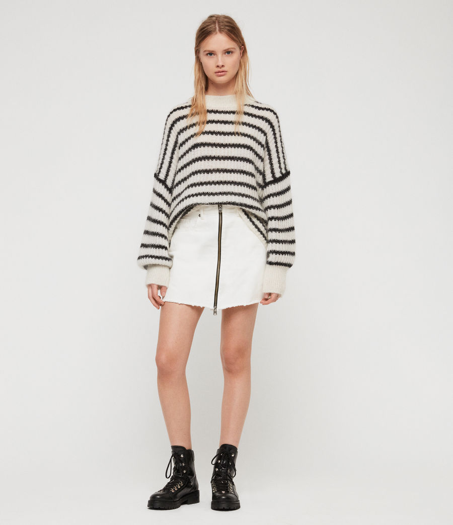 Womens Renne Stripe Sweater (chalk_white_black) - Image 4