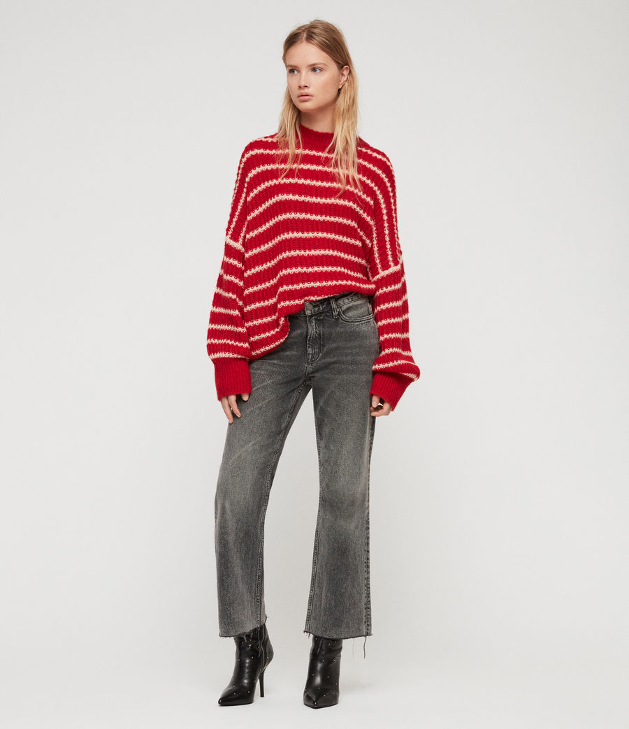 Womens Renne Stripe Sweater (red_peach) - Image 1