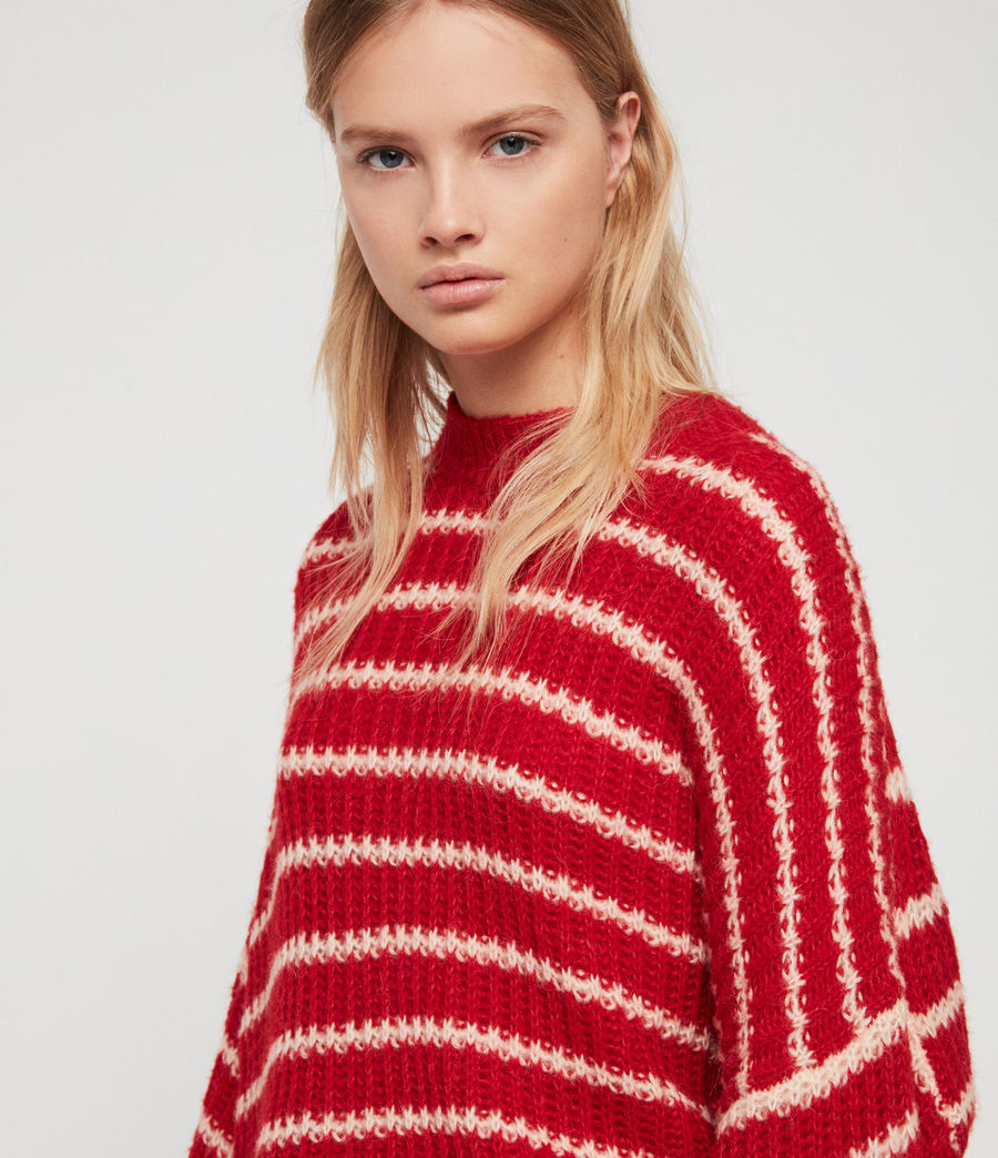 Womens Renne Stripe Sweater (red_peach) - Image 2