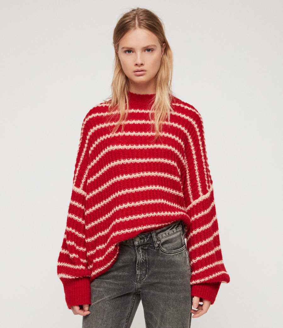 Womens Renne Stripe Sweater (red_peach) - Image 3