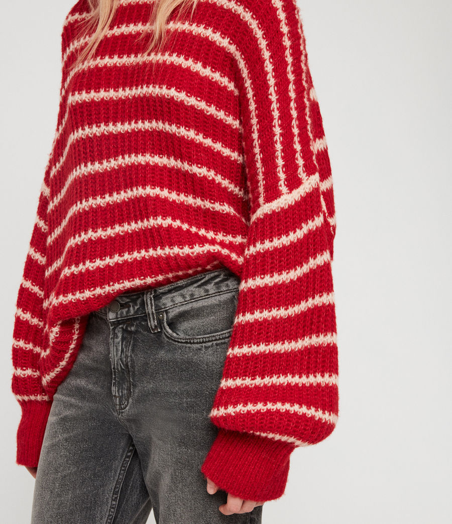 Womens Renne Stripe Sweater (red_peach) - Image 4