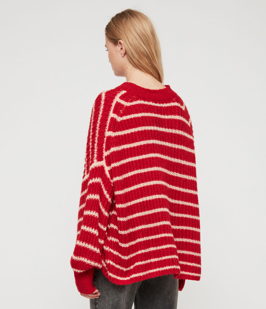 Womens Renne Stripe Sweater (red_peach) - Image 5
