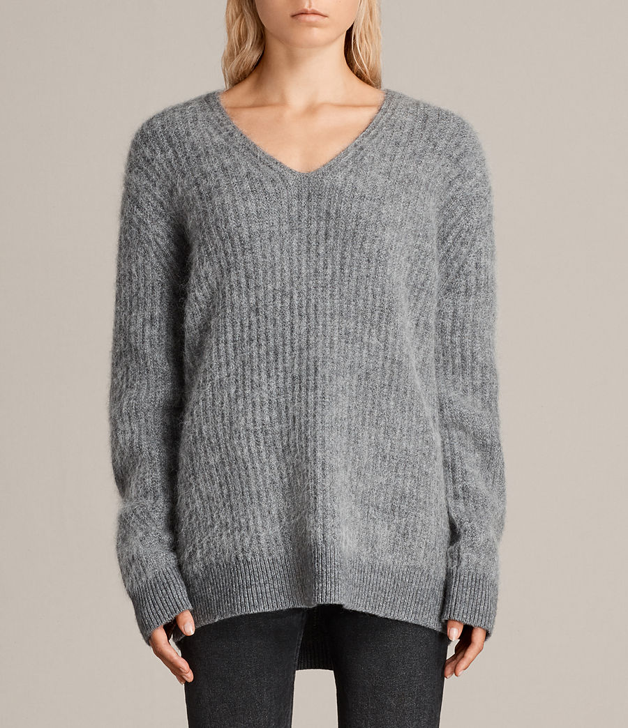 Womens Ade V-neck Sweater (grey_marl) - Image 1