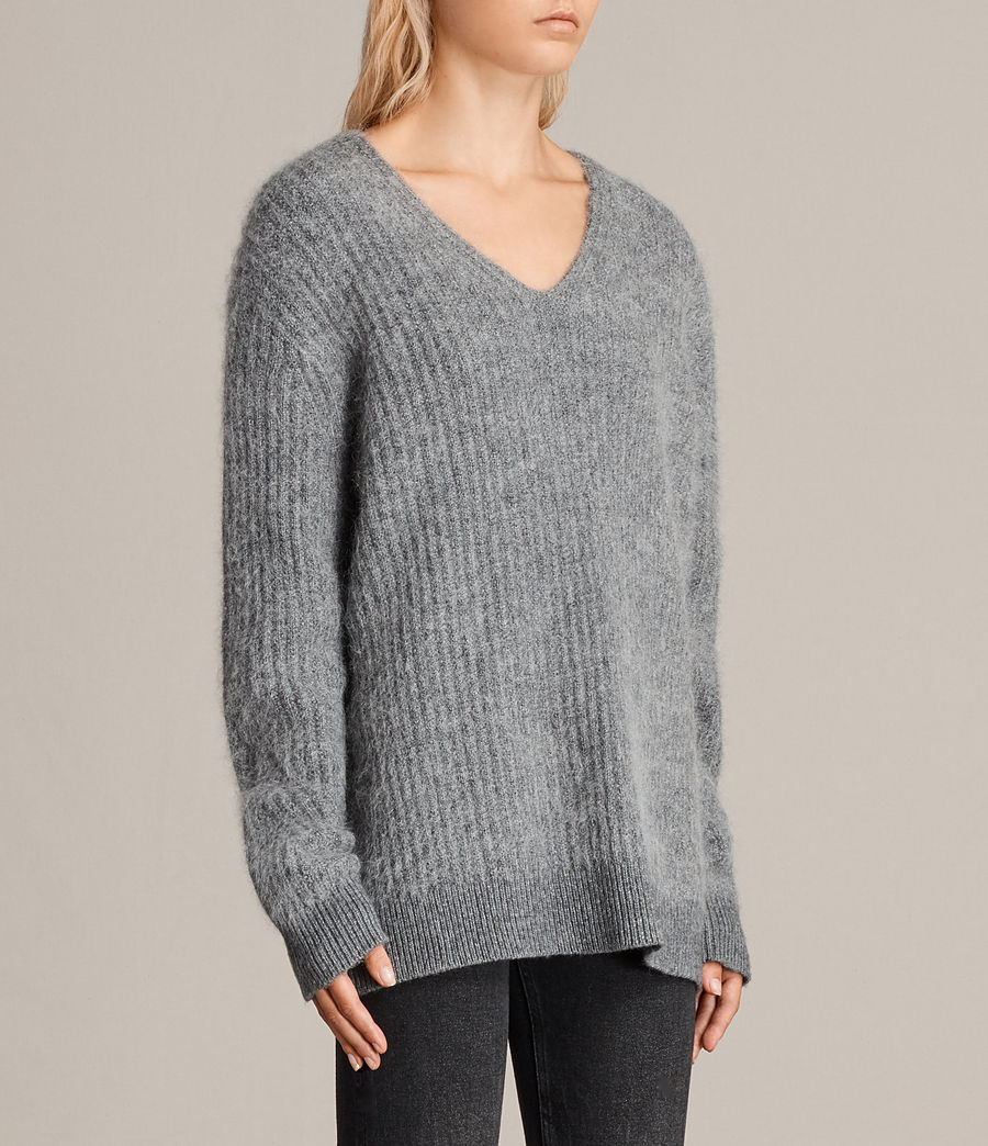 Womens Ade V-neck Sweater (grey_marl) - Image 3