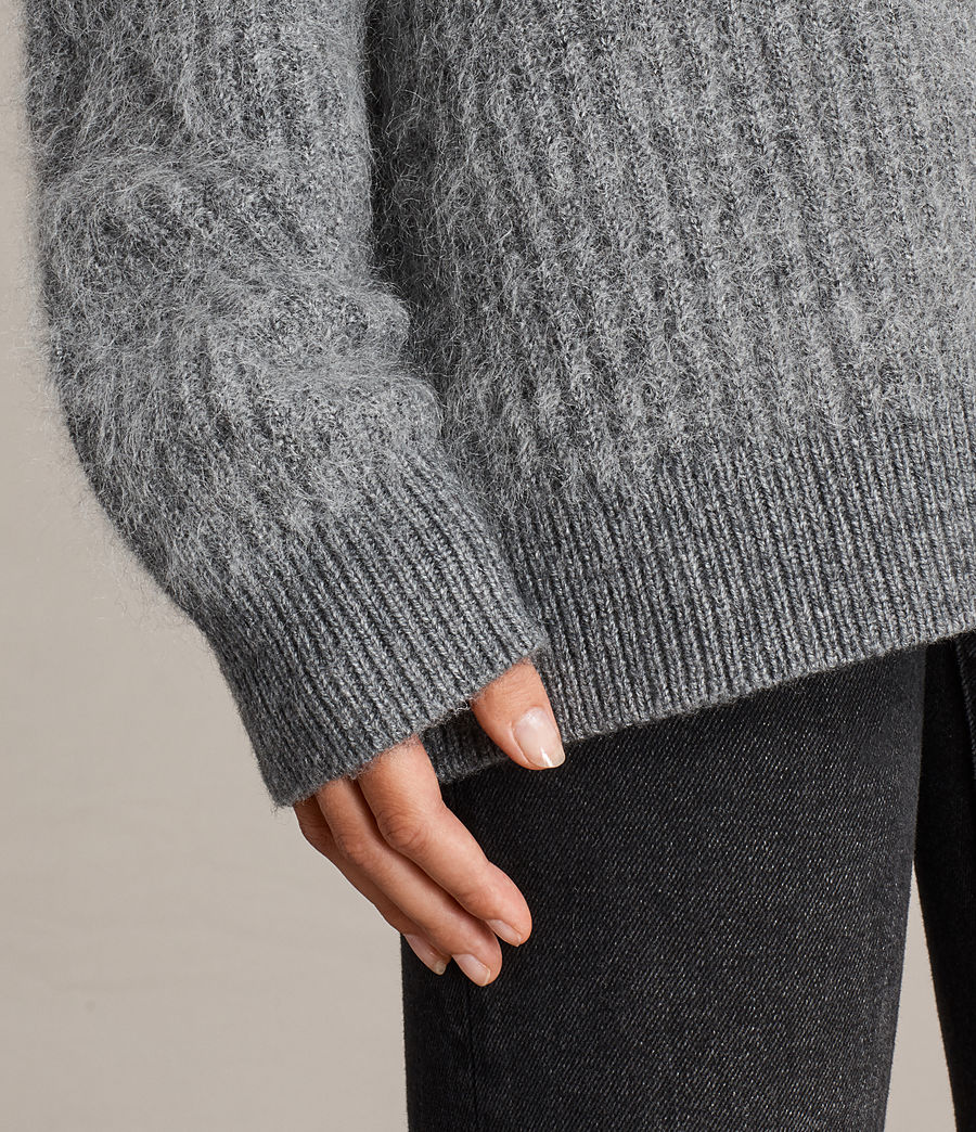 Womens Ade V-neck Sweater (grey_marl) - Image 4