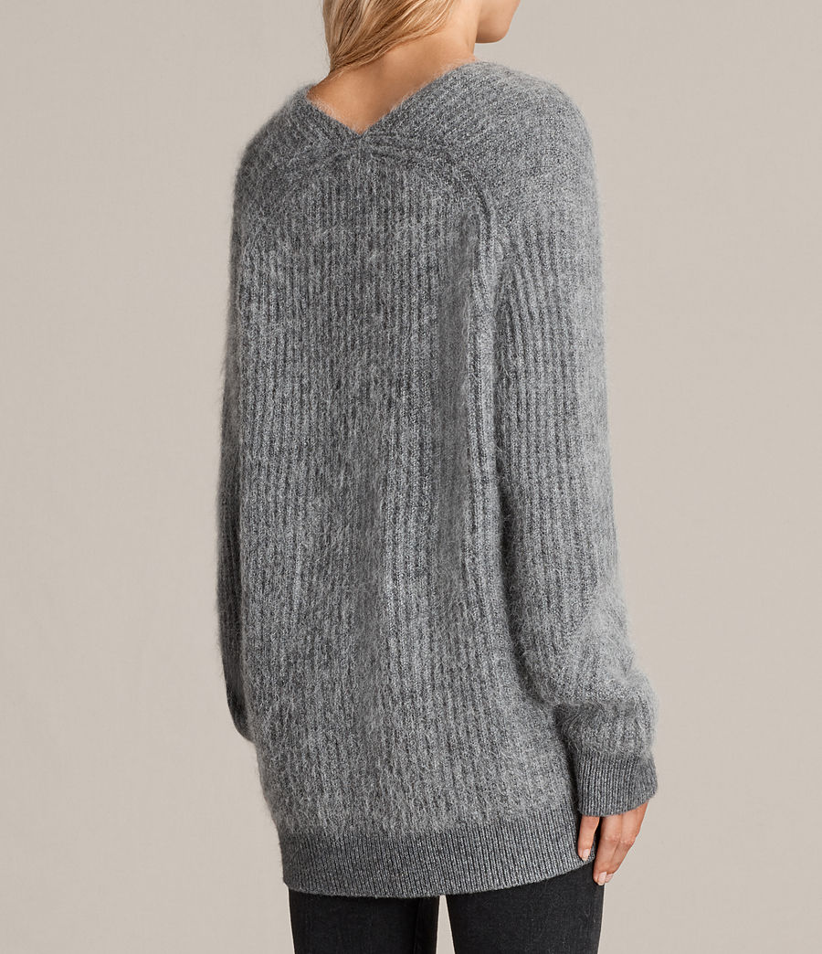 Womens Ade V-neck Sweater (grey_marl) - Image 5