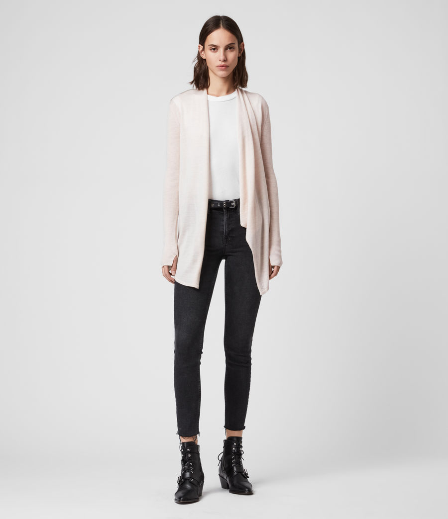 Women's Drina Ribbed Cardigan (almond_pink_marl) - Image 3