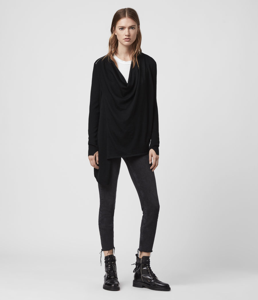 Women's Drina Ribbed Cardigan (black) - Image 3